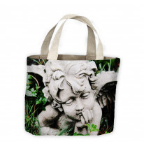 Angel Statue in Grass Tote Shopping Bag For Life