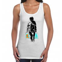 Banksy Spaceman With Shopping Bags Women's Tank Vest Top