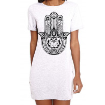 Tribal Hamsa Hand Of Fatima Tattoo Large Print Women's T-Shirt Dress