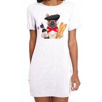 French Bulldog With Wine and Baguette Women's Short Sleeve T-Shirt Dress