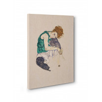 Egon Schiele Seated Woman with Bent Knee Box Canvas Print Wall Art - Choice of Sizes