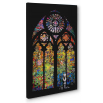 Banksy Stained Glass Box Canvas Print Wall Art - Choice of Sizes