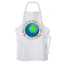 Christmas World Planet Earth Chef's Kitchen Apron