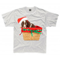 Springer Spaniel Santa Claus Father Christmas Kids T-Shirt