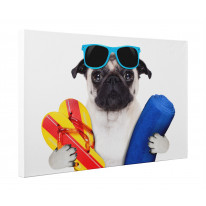 Pug Dog On Holiday Canvas Print Wall Art - Choice Of Sizes
