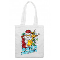 Believe In Christmas Bad Santa Claus Shoulder Shopping Bag