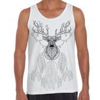 Dreamcatcher With Stags Head Hipster Large Print Men's Vest Tank Top