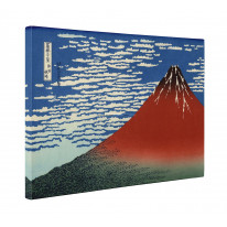 Hokusai Mount Fuji In Clear Weather Red Box Canvas Print Wall Art - Choice of Sizes