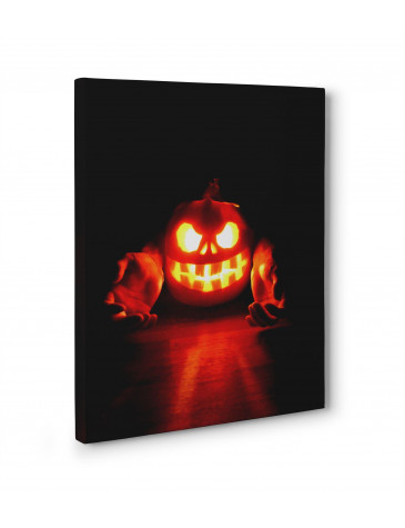 Halloween Pumpkin Flame Box Canvas Print Wall Art - Choice of Sizes