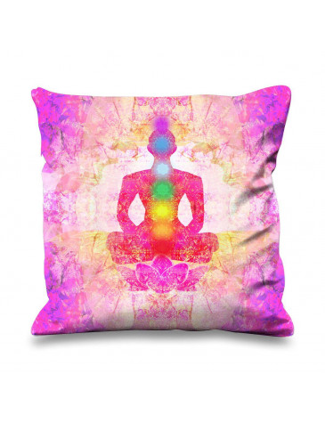 Lotus Pose Chakras Faux Silk 45cm x 45cm Sofa Cushion