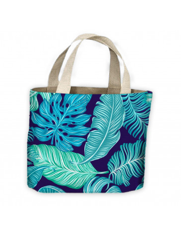 Tropical Leaves Blue Pattern All Over Tote Shopping Bag For Life