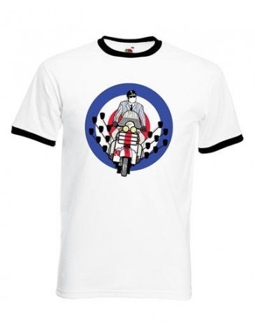 Mod Scooter Mirrors Ringer Style T-Shirt