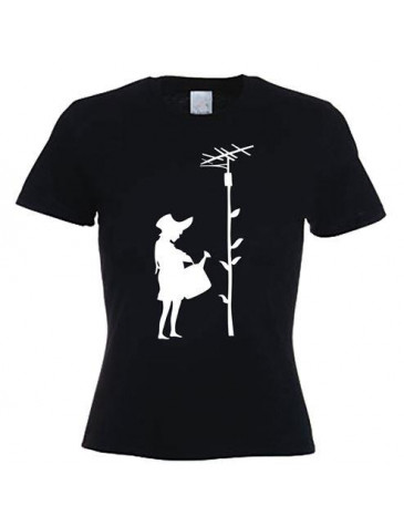 Banksy Watering Can Girl Womens T-Shirt