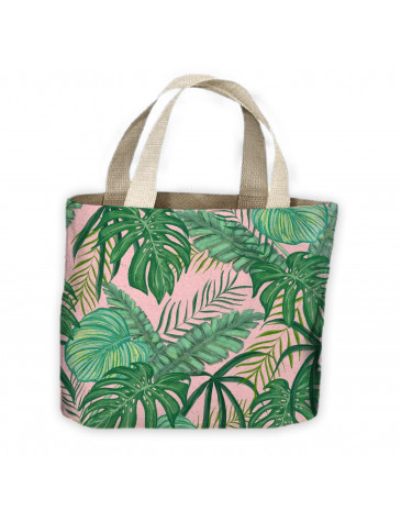 Tropical Leaves Pink and Green Pattern All Over Tote Shopping Bag For Life