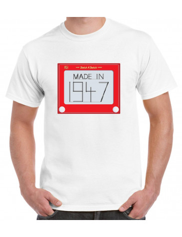 Made In 1947 Etch A Sketch Design 70th Birthday Mens T Shirt