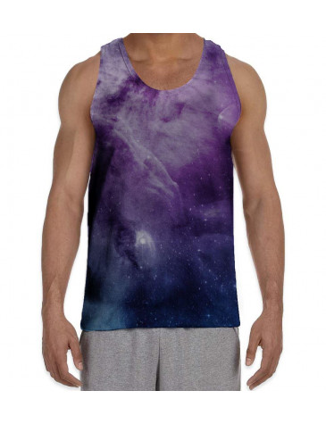 Purple Galaxy Stars Men's All Over Graphic Vest Tank Top