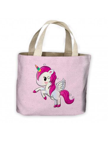 Cartoon Unicorn All Over Tote Shopping Bag For Life