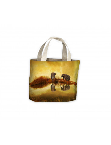 Elephant's Reflection in Water Tote Shopping Bag For Life