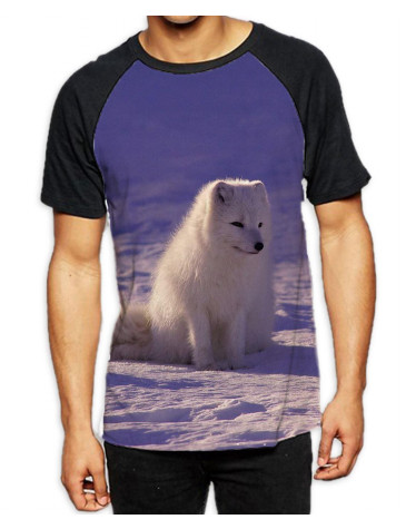 Arctic Wolf Cub in Snow Men's All Over Graphic Contrast Baseball T Shirt