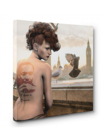 London Nude with Martin Luther King Tattoo Box Canvas Print Wall Art - Choice of Sizes
