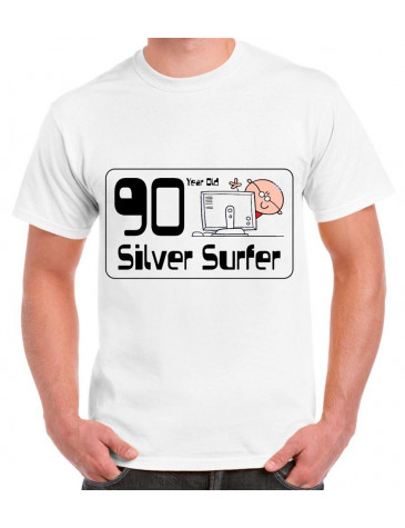 90 Year Old Silver Surfer 90th Birthday Mens T Shirt