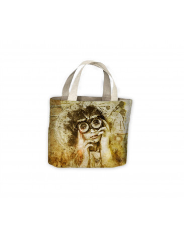 Steampunk Lady with Goggles Vintage Tote Shopping Bag For Life