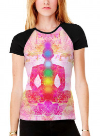 Lotus Pose Chakras Meditation Women's All Over Graphic Contrast Baseball T Shirt