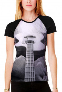 Abstract Acoustic Guitar Black and White Women's All Over Print Graphic Contrast Baseball T Shirt
