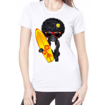 French Bulldog Surfer With Afro Hair Women's T-Shirt