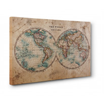 Map of the World Hemispheres Box Canvas Print Wall Art - Choice of Sizes