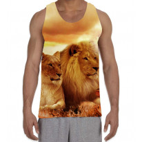 Lions Lying Down in Sunset Men's All Over Graphic Vest Tank Top