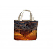 Flamingo Birds Flying in Sunset Tote Shopping Bag For Life