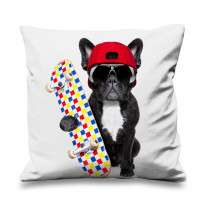 French Bulldog Skateboarder Faux Silk 45cm x 45cm Sofa Cushion