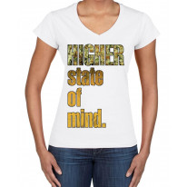 Higher State Of Mind Cannabis Large Print V Neck Women's T-Shirt