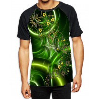 Floral Trippy Green Pattern Men's All Over Graphic Contrast Baseball T-Shirt