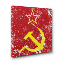Hammer and Sickle Grunge Box Canvas Print Wall Art - Choice of Sizes