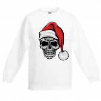 Santa Skull Skeleton Hipster Christmas Childrens Kids Sweatshirt Jumper