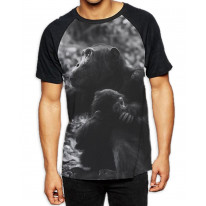 Mother Chimpazee and Baby Black and White Men's All Over Graphic Contrast Baseball T Shirt