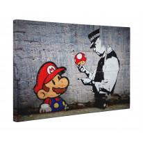 Banksy Mario and Copper Box Canvas Print Wall Art - Choice of Sizes