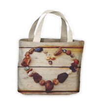 Love Heart Stones On Wood Tote Shopping Bag For Life