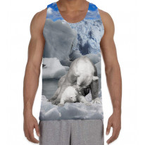 Mother Polar Bear and Baby Men's All Over Graphic Vest Tank Top