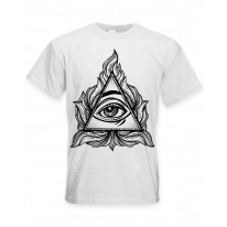 All Seeing Eye In A Triangle Illuminati Large Print Men's T-Shirt