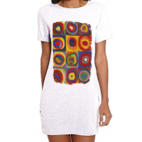 Wassilly Kandinsky Colour Study Square With Concentric Circles Large Print Womens T-Shirt Dress