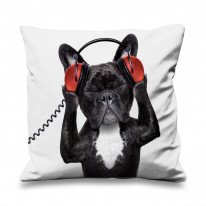 French Bulldog DJ Faux Silk 45cm x 45cm Sofa Cushion
