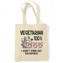 Vegetarian Big Bad Wolf Cotton Shoulder Shopping Bag