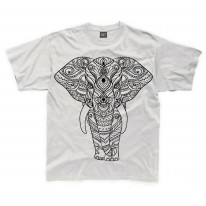 Tribal Indian Elephant Tattoo Large Print Kids Children's T-Shirt