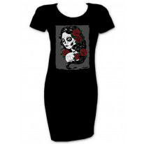 Day Of The Dead Tattoo Girl T-Shirt Dress