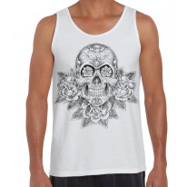 Skull and Roses Tattoo Large Print Men's Vest Tank Top
