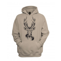 Tribal Stags Head Men's Pouch Pocket Hoodie Hooded Sweatshirt