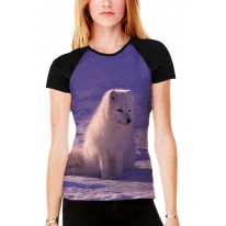 Arctic Wolf Cub in Snow Women's All Over Graphic Contrast Baseball T Shirt